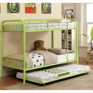 Furniture of America Linden II 2-Piece Twin Over Twin Metal Bunk Bed with Trundle Set (Option: Green)