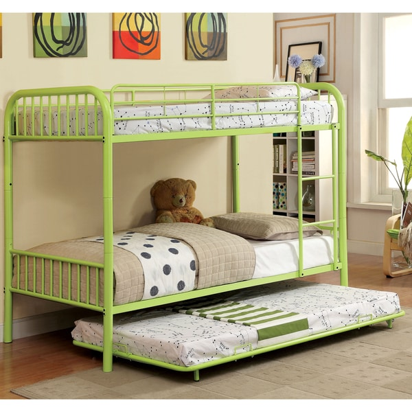 shop furniture of america linden ii 2 piece twin over twin metal bunk bed with trundle set. Black Bedroom Furniture Sets. Home Design Ideas