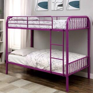 Linden II Modern Twin Over Twin 2-Piece Bunk Bed Set by FOA (Purple)