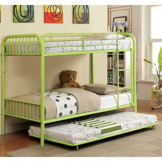 Furniture of America Linden II 2-Piece Twin Over Twin Metal Bunk Bed with Trundle Set