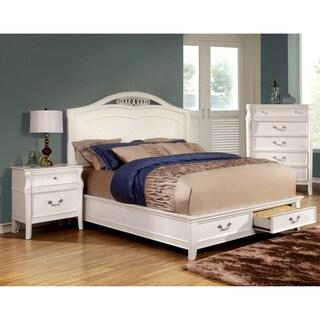 Furniture of America Tiffa 2-piece Elegant White Bed and Nightstand Set