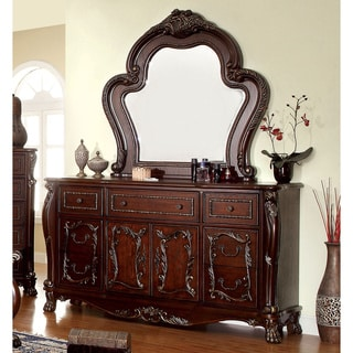 Furniture of America Tashir Traditional 2-piece Cherry Dresser and Mirror Set
