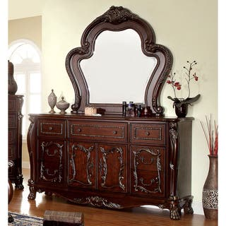 Dresser mirror dressers chests for less for Furniture of america hilande rustic farmhouse dark walnut bed