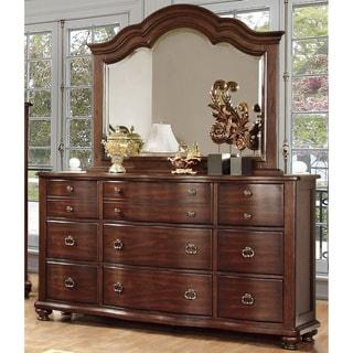 Furniture of America Fole Cherry 2-piece Dresser and Mirror Set