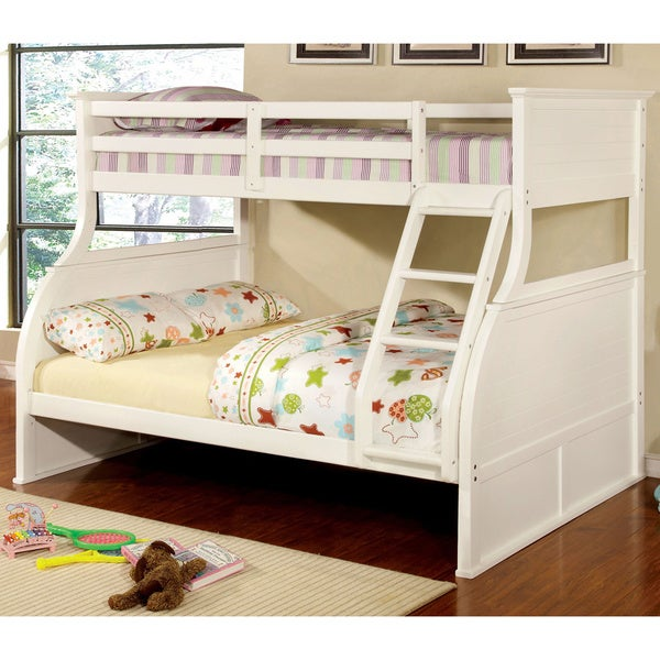 furniture of america darlian cottage style white twin/ full bunk