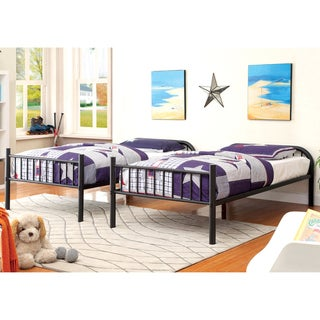 Furniture of America Linden II Twin Over Twin Metal Bunk Bed