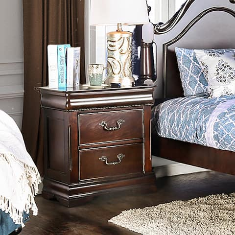 Furniture of America Diva Traditional Cherry Solid Wood Nightstand