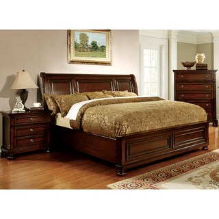 Furniture of America Barelle II Cherry 2-piece Bed and Nightstand Set