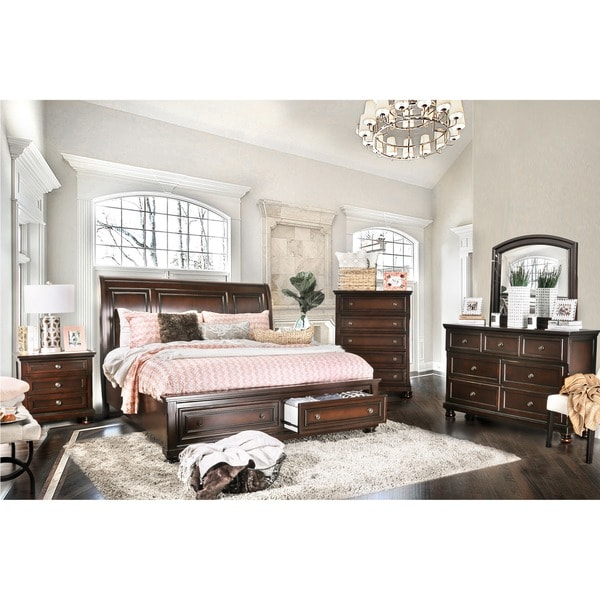 cherry bedroom set. Furniture of America Barelle I Cherry 4 Piece Bedroom Set  Free
