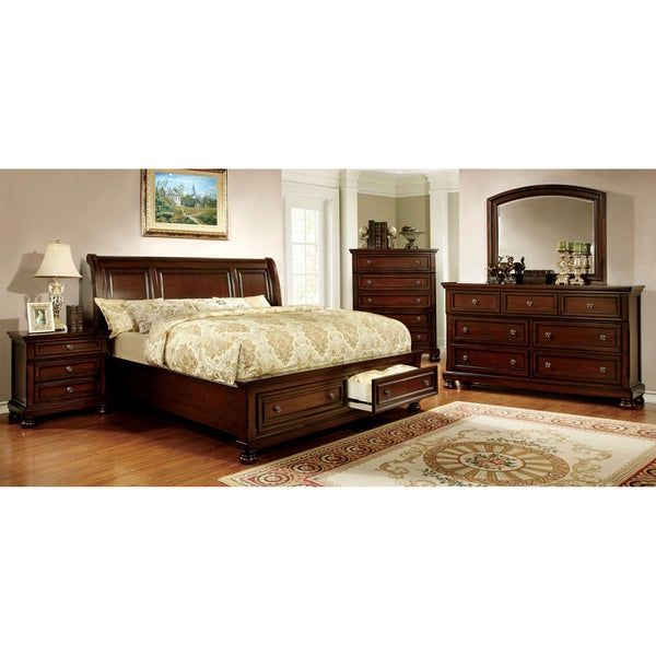 furniture of america barelle ii cherry 4 piece bedroom set