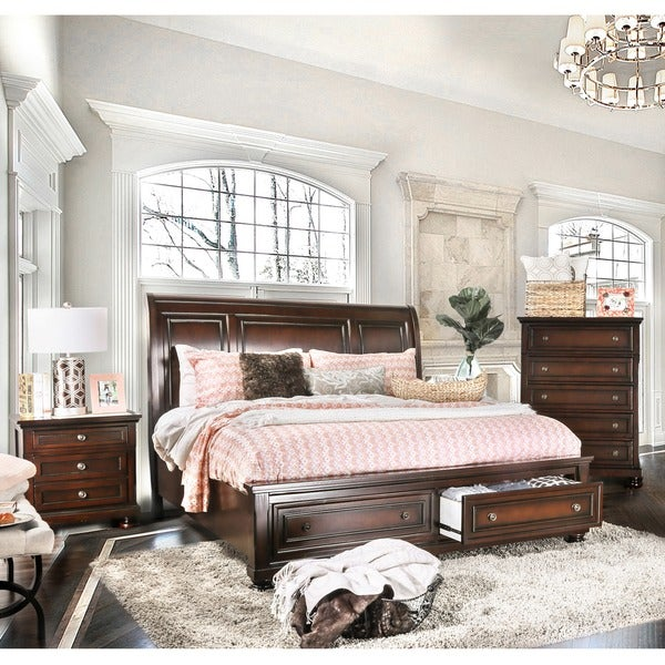 Furniture of America Barelle I Cherry Finish Solid Wood 3-piece Bedroom Set