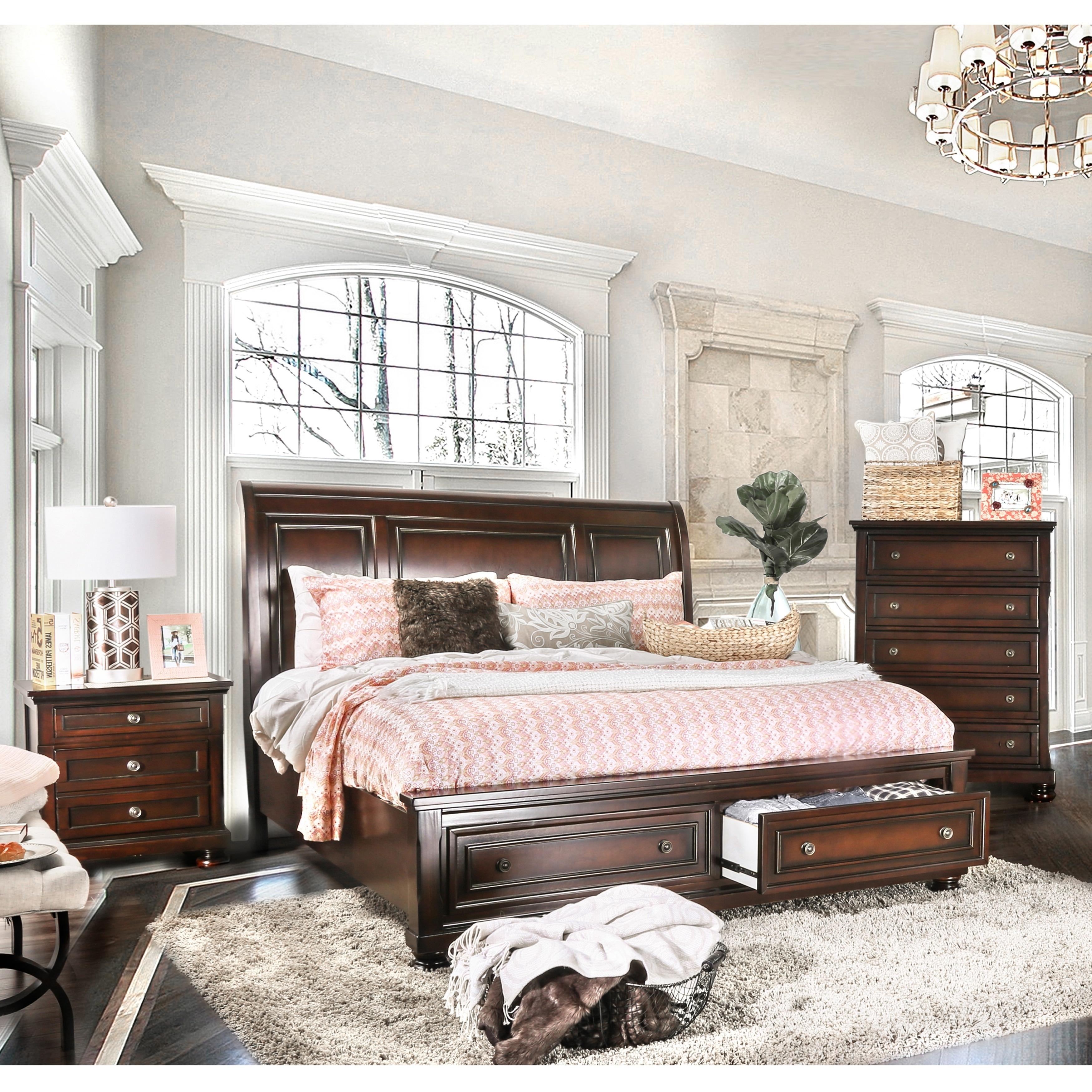 Gracewood Hollow Yep Cherry Finish Solid Wood 3 Piece Bedroom Set
