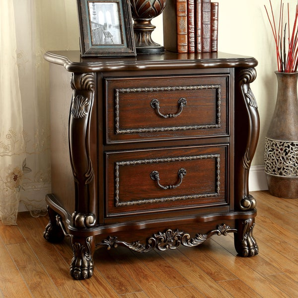 Furniture Of America Tashir Traditional 2 Drawer Cherry Nightstand With USB  Outlet