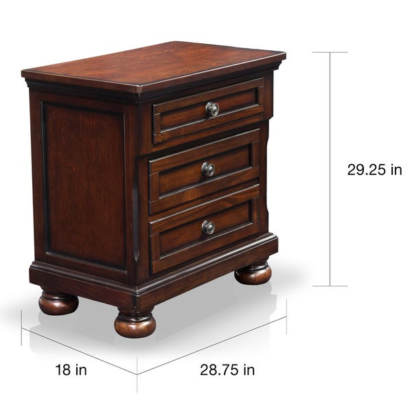 Furniture Of America Barelle Cherry 3 Drawer Nightstand With Hidden Power  Outlet   Free Shipping Today   Overstock.com   17130838