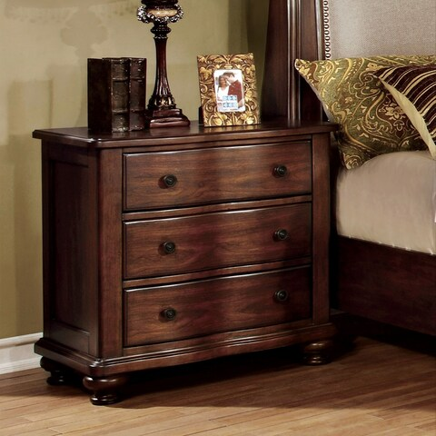 Ceres Traditional Brown Cherry 3-drawer Nightstand by FOA