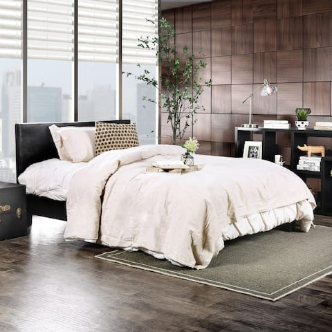 Furniture of America Gols Modern Black Faux leather Padded Platform Bed