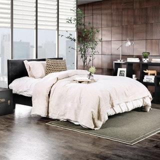 Furniture of America Huntress III Black Crocodile Leatherette Platform Bed