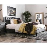 Furniture of America Huntress IV Black Crocodile Leatherette Button Tufted Platform Bed