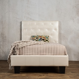 Furniture of America Huntress IV Pearl White Crocodile Leatherette Button Tufted Platform Bed
