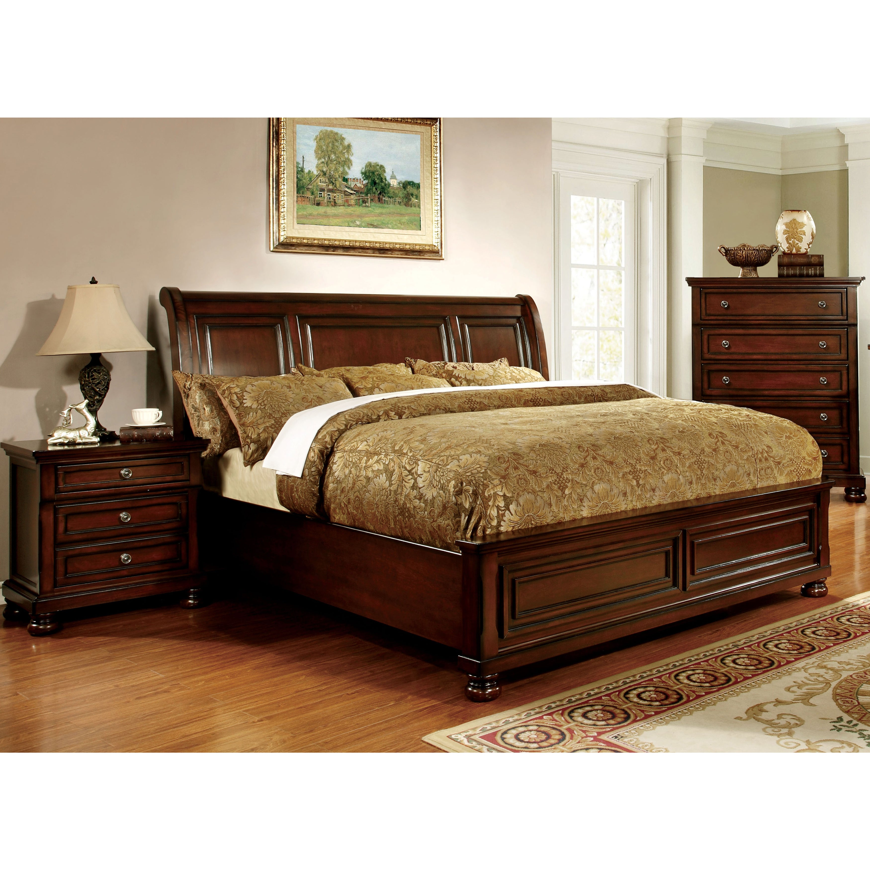 Furniture of America Barelle II Cherry Paneled Bed (King)...
