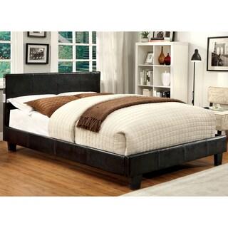Furniture of America Britney Modern Espresso Leatherette Platform Bed with Bluetooth Speaker