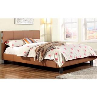 Furniture of America Britney Modern Camel Leatherette Platform Bed with Bluetooth Speaker