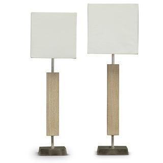Esquina Wood and Fabric Lamp (Set of 2)