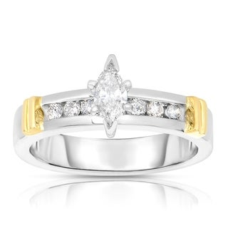 Eloquence 14k White Gold 1/2ct TDW Marquise Diamond Engagement Ring (K-L, I1-I2)