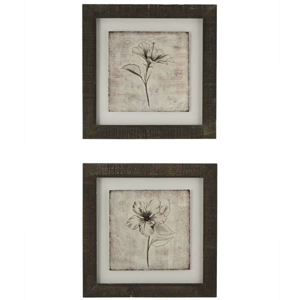 Wall Art Glass Framed : Sketch flower framed giclee print wall art with glass set