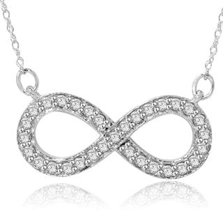 14k White Gold 1/ 3ct TDW Diamond Infinity Necklace