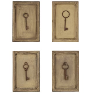 Vintage Key Collection Framed on Wood Wall Art (Set of 4)