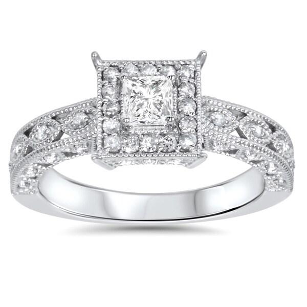 14k White Gold 5/8ct TDW Halo Vintage Princess-cut Diamond Engagement Ring
