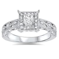 14k White Gold 5/8ct TDW Halo Vintage Princess-cut Diamond Engagement Ring