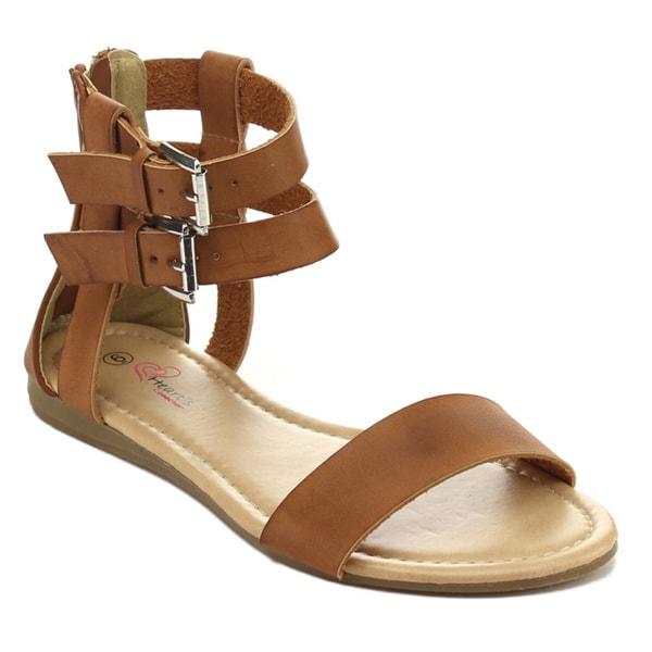 I HEART LIVIA-01 Women's Buckled Ankle Strap Gladiator Sandals