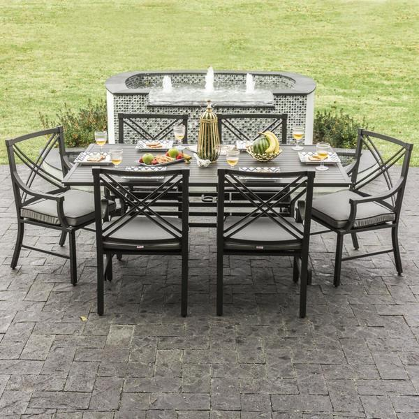 Audubon Grey Aluminum 6-person Patio Dining Set & Shop Audubon Grey Aluminum 6-person Patio Dining Set - Free Shipping ...