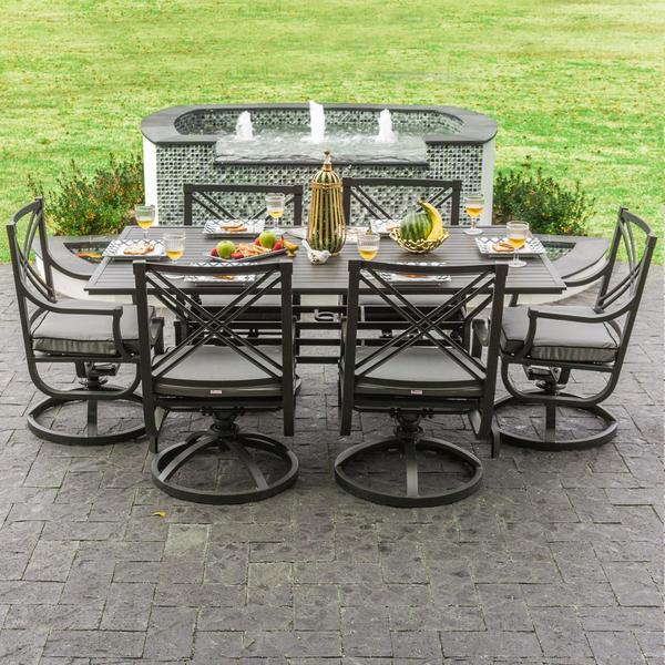 Audubon Grey Aluminum 6 Person Patio Dining Set With Swivel Rocking Chairs