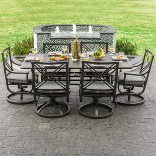 Audubon Grey Aluminum 6-person Patio Dining Set with Swivel Rocking Chairs