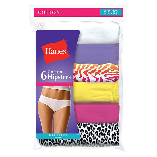 90c2797eaefb Shop Hanes Women's No Ride Up Cotton Hipster Panties 6-Pack - Free Shipping  On Orders Over $45 - Overstock - 9979207 - Size 8