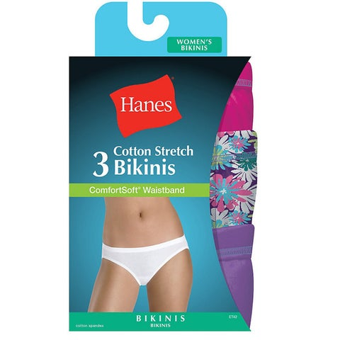 Hanes Women's Cotton Stretch Bikini with ComfortSoft Waistband (Pack of 3, Assorted Colors)