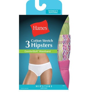 Hanes Women's Cotton Stretch Hipster Panties with ComfortSoft Waistband 3-Pack