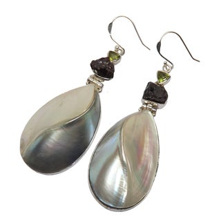 Handcrafted Sterling Silver Shell, Peridot & Rough Garnet Earrings (India)