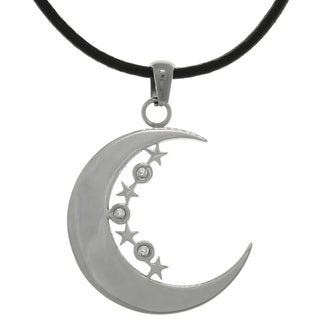 Carolina Glamour Collection Stainless Steel Crescent Moon and Stars Pendant with CZ Stones on Black Leather Necklace