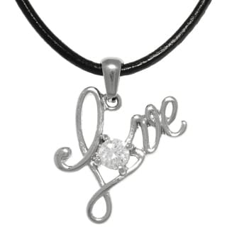 Carolina Glamour Collection Stainless Steel Love Word Sentiment Pendant With CZ Crystal on Black Leather Necklace