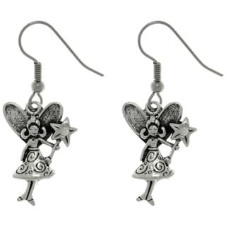 Carolina Glamour Collection Pewter Magic Pixie Fairy with Crystal Wand Dangle Earrings