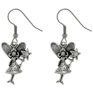 Pewter Magic Pixie Fairy with Crystal Wand Dangle Earrings