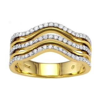 Beverly Hills Charm 10K Yellow Gold 1/2ct TDW Multi Row Diamond Fashion Ring
