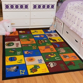 Ottomanson Jenny Babies Collection Multicolor Non-slip Rubber Backing Children's Educational Design Area Rug (8' x 10')