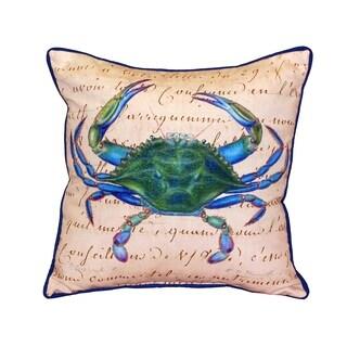 Blue Crab Male Beige 18-inch Indoor/Outdoor Pillow