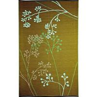 b.b.begonia Fernando Floral Outdoor/ RV/ Camping Blue/ Green Reversible Patio Mat (9' x 12') - 9' x 12'