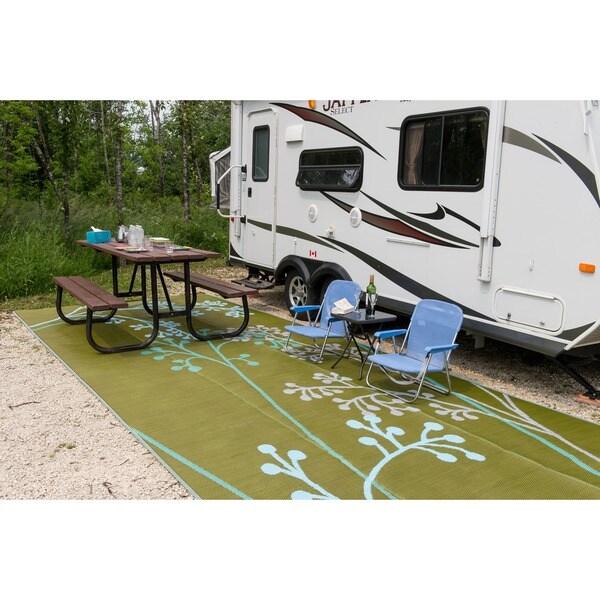 B.b.begonia Fernando Floral Outdoor/ RV/ Camping Blue/ Green Reversible  Patio Mat (9u0027 X 12u0027)   9u0027 X 12u0027   Free Shipping Today   Overstock.com    17131327